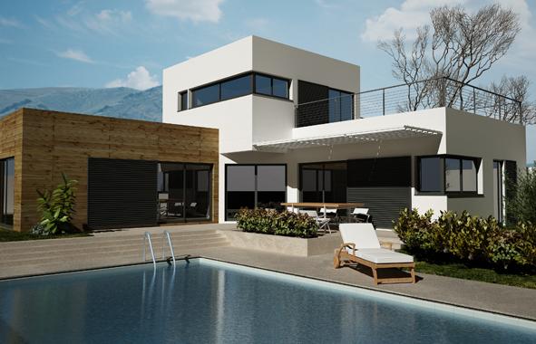 RENNER : Maison en bois avec piscine